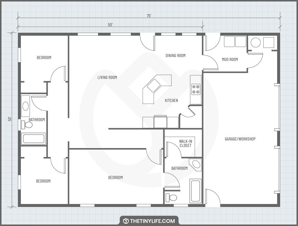 3 bedroom barndominium floorplan