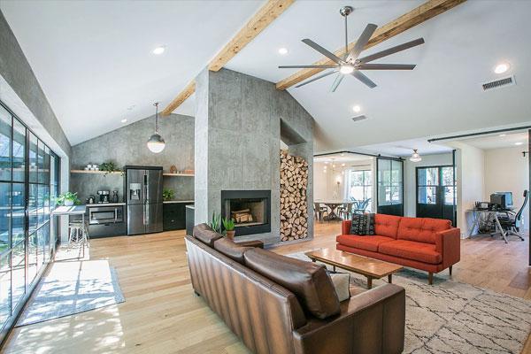 modern barndominium living room